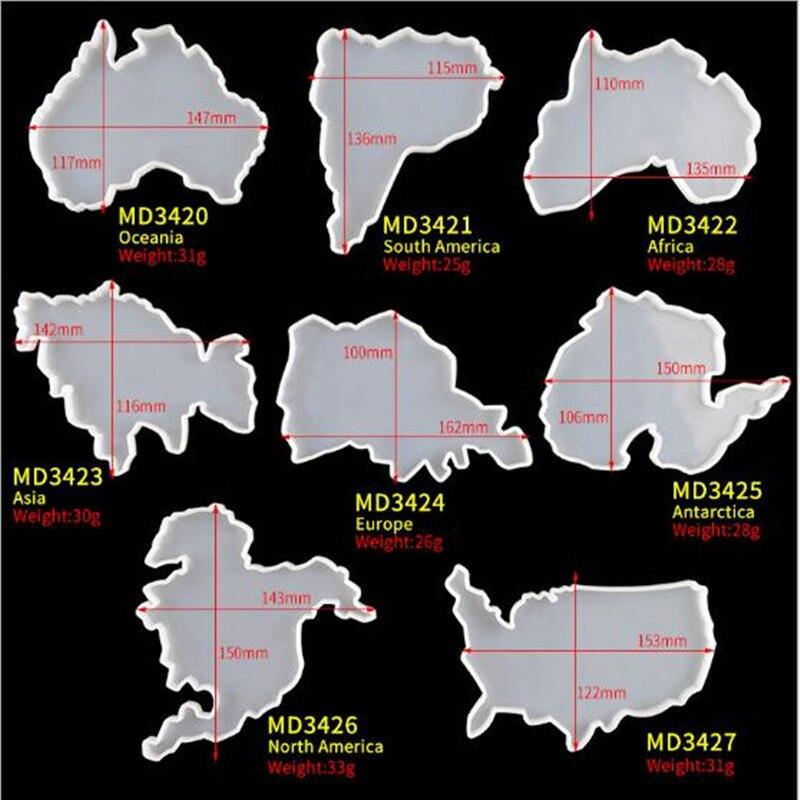 Карта семь континентов, искусственная кристальная эпоксидная смола, подставка, форма для фруктовых чашек, поднос, коврик для фотоинструмен...