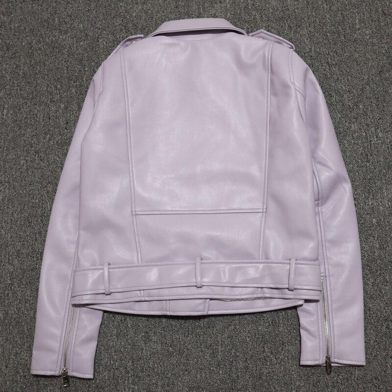 Ha72be9861049429da095e14abc06a26ec Spring Autumn Women Faux Leather Jacket Ladies Solid With Belt Zipper Biker Coat Female Casual Outwear