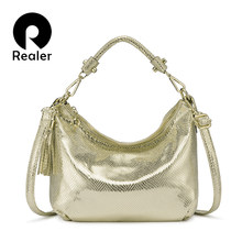 REALER women handbag strap PU leather crossbody shoulder bags female with Serpentine messenger bags for ladies high quality(China)