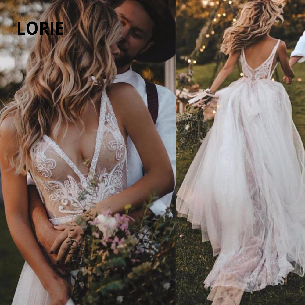 LORIE Sexy Deep V Neck Lace Beading Beach Wedding Dress 2020 Sweep Train Soft Tulle Sleeveless Open Back Boho Bridal Gowns