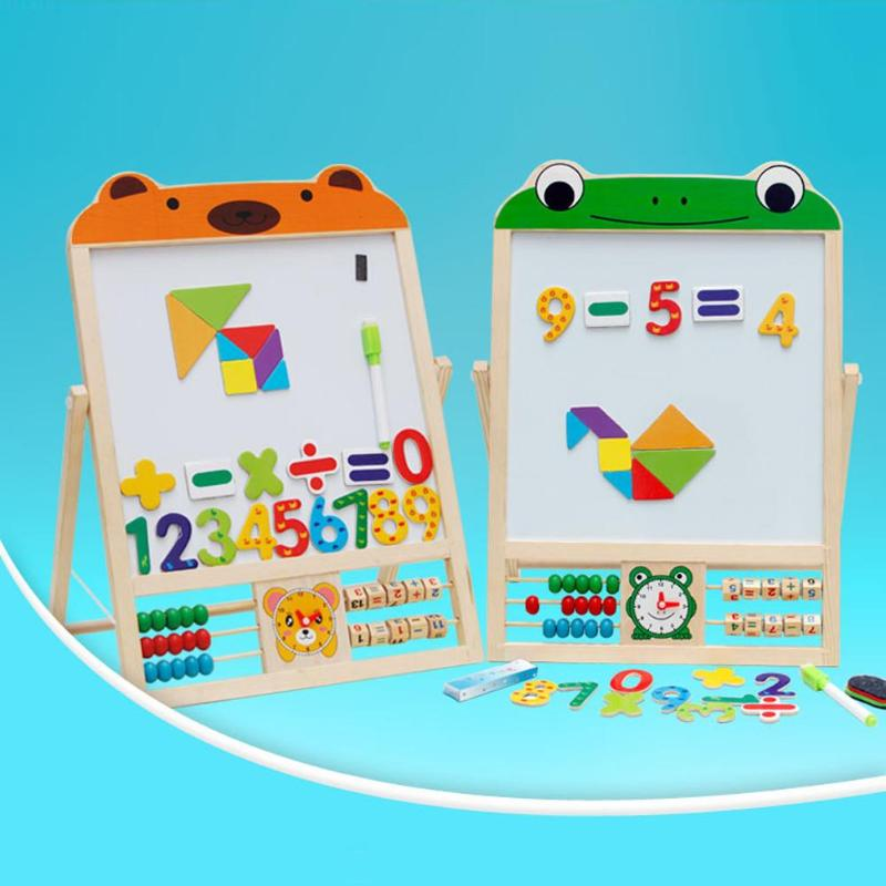New Wooden Children's Learning Drawing Board Early Education Educational Toys Magnetic Double-sided Drawing Board Blackboard