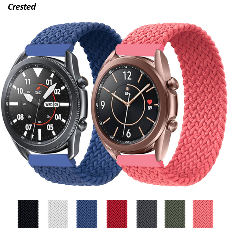 Ремешок соло 20 мм/22 мм для Samsung Galaxy watch 3/46 мм/42 мм/active 2/Gear S3, плетеный браслет для Huawei watch GT/2/2e/Pro