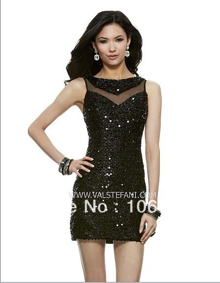 Free Shipping New Design Vestidos Special Occasion Sexy Elegant Black Shining Sequin Short Party Prom Gown Bridesmaid Dresses