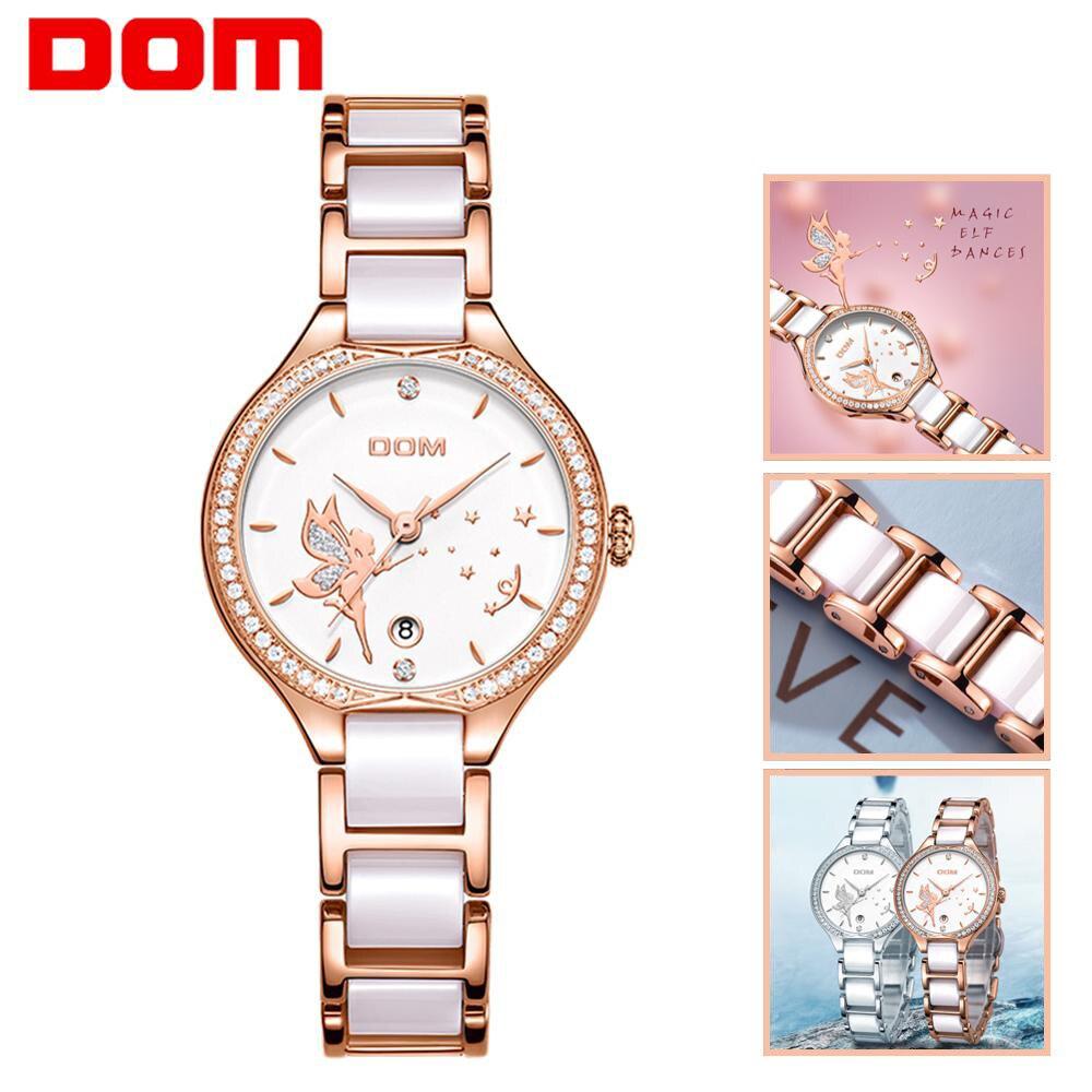 DOM Women Watches Fashion Ceramics Watchband Diamond Wrist Watch Top Luxury Brand Dress Ladies Geneva Quartz Clock G-1271G-7M2