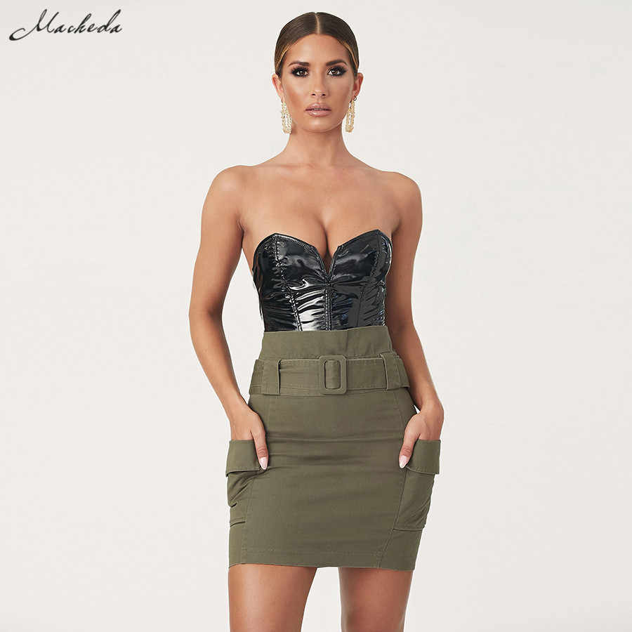 Macheda Vrouwen Zwart PU Lederen Bodysuit Sexy Kleine V-hals Strapless Lady Rompertjes 2019 Nieuwe Straat Herfst Party Overalls