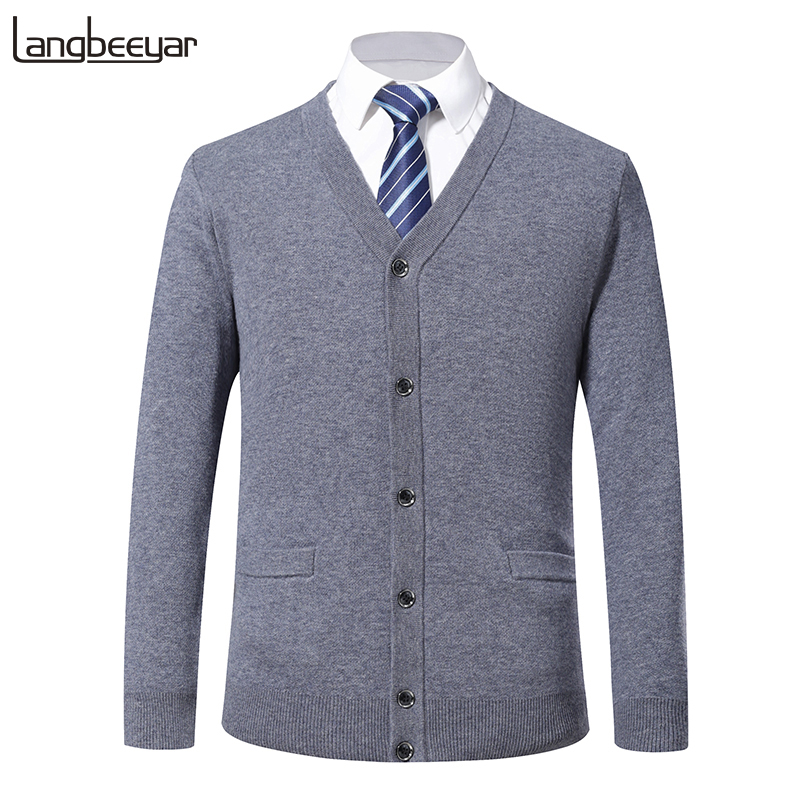 100% Wool Winter New Fashion Brand Sweater Men CardiganJumpers Knitwear Solid Color Korean Style Slim Fit Casual Mens Clothes