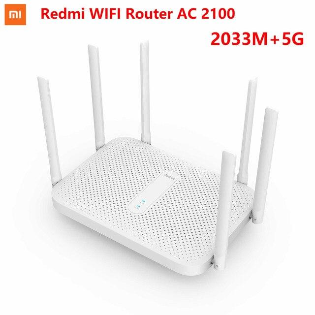 Xiaomi redmi ac2100 roteador gigabit 2.4g 5.0 ghz dupla-faixa 2033 mbps roteador sem fio wi-fi repetidor com 6 antenas de alto ganho mais amplo 1