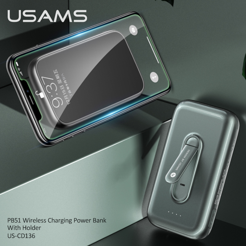 USAMS Wireless Charging Power Bank With Holder Type C Micro External Battery Charger Powerbank For Iphone Huawei Mate 30 Xiaomi