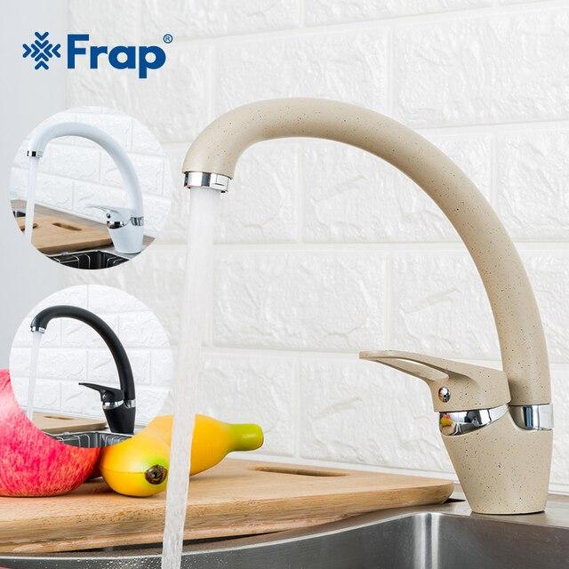 FRAP Küche Wasserhahn moderne 4 farbe top qualität küche waschbecken wasserhahn wasser mixer deck montiert messing wasserhahn saving wasser armaturen