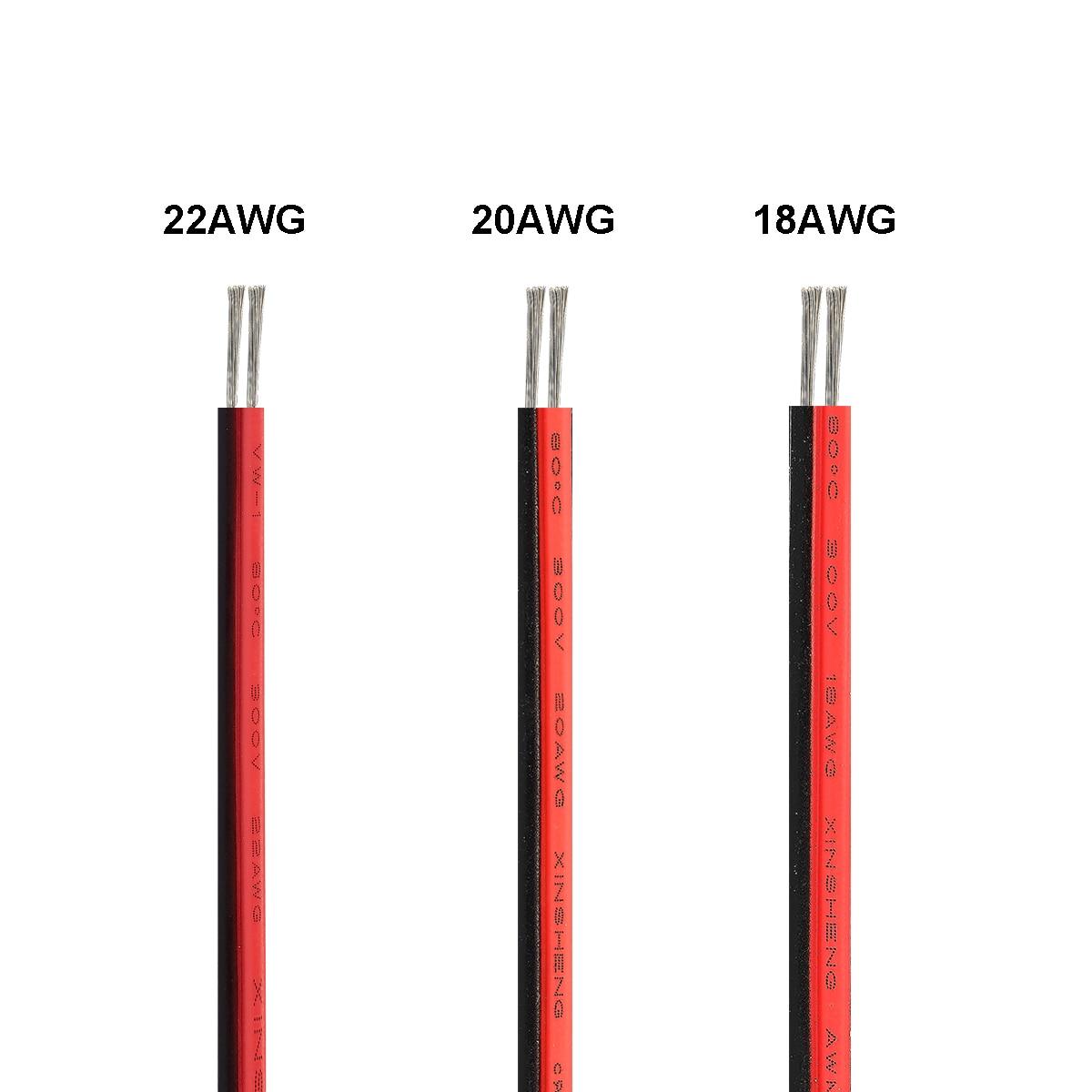 Электрический кабель 20/100 м, 2-контактный провод для светодиодов ленточный кабель 22AWG 12 В луженая медная проволока для светодиодного драйвер...
