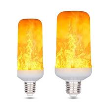 2021 nowy E27 lampy płomień Led efekt płomienia LED żarówka 85 ~ 265V migotanie emulacja ogień światła 7W 9W tanie tanio ZHONGLIXING CN (pochodzenie) Ciepły biały (2700-3500 k) LED E27 2835 Garden 85v-265v 500-999 Lumenów 50000 138mm Żarówki led