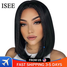 Straight Bob Lace Front Wigs Pre Plucked Hairline ISEE HAIR Short Human Hair Wigs Brazilian Straight Short Bob Lace Front Wigs