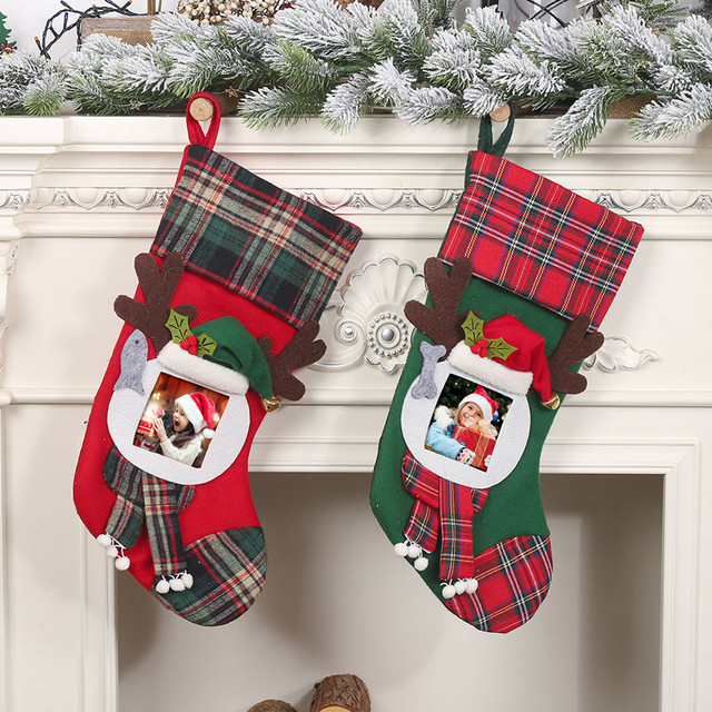 Christmas Stockings Socks Santa Claus Plaid Big Hanging candy Gift Bag Party Supplies Decoration For Home Pendant Gifts Wholesa 2