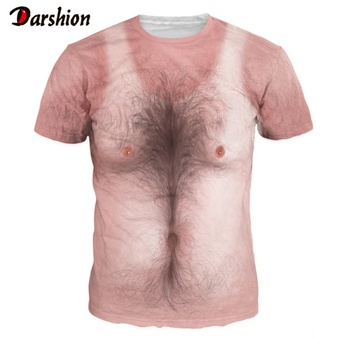 New Fashion Men 3D T-shirt Funny Animal Pig Print Chest Hair Muscle Harajuku Style Short Sleeves Summer Stranger Things T-shirts