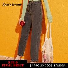 Samstree, синие, одноцветные, с карманами сбоку, с высокой талией, Ретро стиль, джинсы для отдыха, женские,, Осенние, зеленые, черные, прямые, корейские, женские, джинсовые штаны