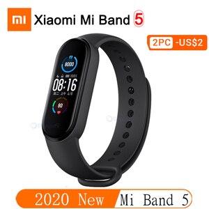 Image 1 - Oryginalna marka Xiaomi Mi zespół 4 5 inteligentny zegarek Mi zespół 5 Fitness bransoletka AMOLED kolorowy ekran tętno kontrola muzyki inteligentny zespół