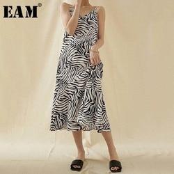Женское платье в полоску EAM, длинное платье на тонких бретельках с треугольным вырезом без рукавов, весенне-летняя мода 2020 1U452