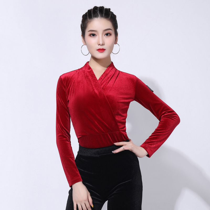 Latin Dance Top Adults Winter Velvet Long-Sleeved V-Neck Shirts Cha Cha Rumba Tango Salsa Women Dancing Practice Wear DNV12324