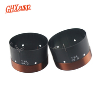 Ghxamp 2pcs 99mm woofer voice coil 6 ohm Black aluminum Round Copper wire High Power Bass voice coil For Stage Speakers