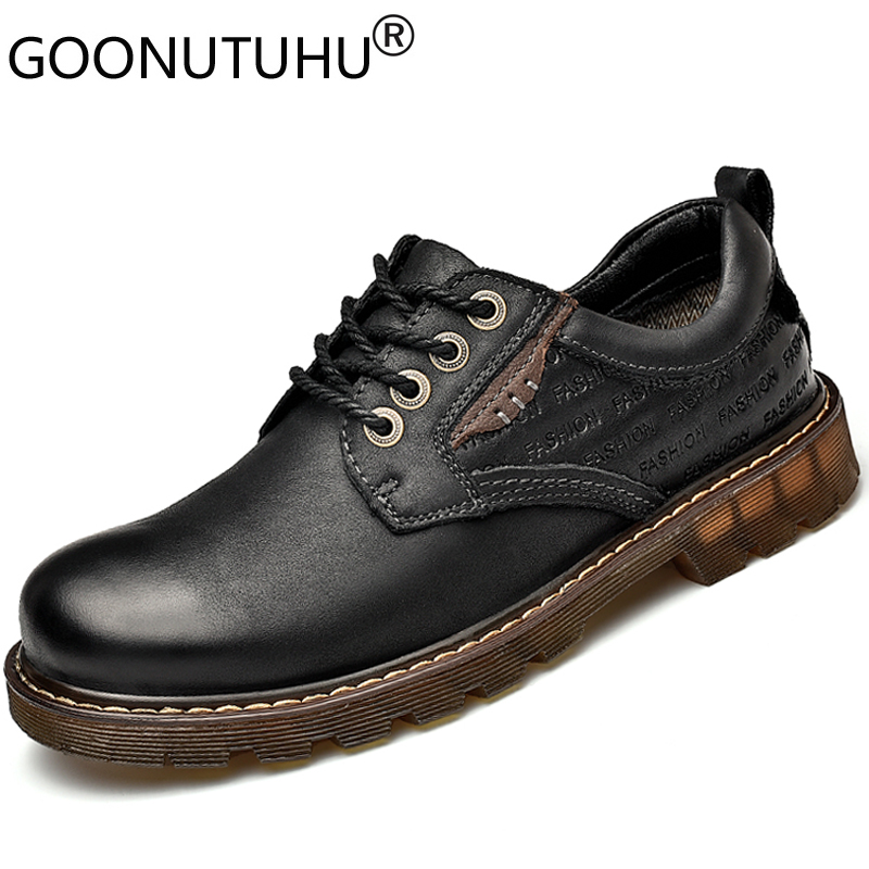 New 20200 style fashion men's shoes casual genuine leather male khaki brown black lace up shoe man oxfords shoes for men size 38-46