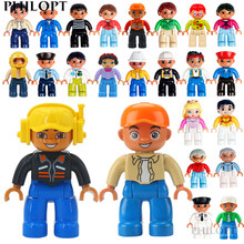 Moc diy grandes blocos de construção boneca figuras brinquedo educacional compatível duplo grande conjunto tijolos crianças presentes para menina menino