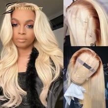 Hd ombre transparente marrom 13x6 loira onda do corpo peruca dianteira do laço cor 613 laço frontal preto feminino 360 peruca cheia do laço preplucked