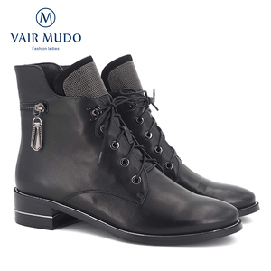 Image 1 - VAIR MUDO2020 Autumn Ankle Boots Women Shoes High Quality Cow Leather  Elegant Round Toe Low Heels classic lady Boots Shoes  DX3