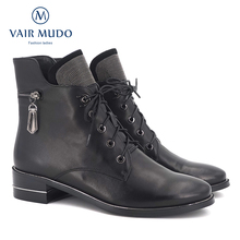 VAIR MUDO2020 סתיו קרסול מגפי נשים נעלי עור פרה באיכות גבוהה אלגנטי עגול הבוהן נמוך עקבים קלאסי ליידי מגפי נעליים DX3