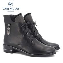 Vair MUDO2020秋アンクルブーツ女性の靴高品質牛革エレガントなラウンドトウ低かかと古典的な女性のブーツの靴DX3