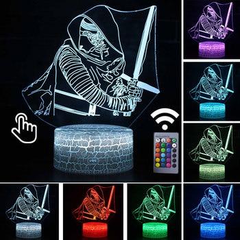 Star Wars Darth Vader Anime Figure Acrylic 3D Illusion LED Lamp Colourful NightLight Death Star Mask Yoda Model Toys Child Gift 33