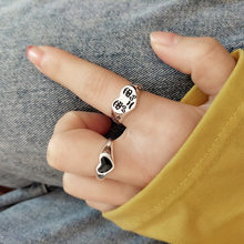 New Korean Black Love Simple Fashion Ring Trendy Female Accessories Open Tear Face Expression Retro Ring Jewelry for Women