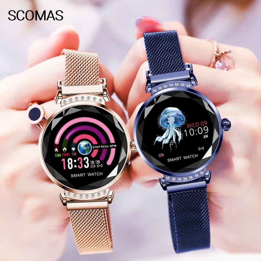 SCOMAS роскошные женские Смарт часы с 3D алмазным стеклом IP67 водонепроницаемый монитор сердечного ритма фитнес трекер женские функциональные умные часы