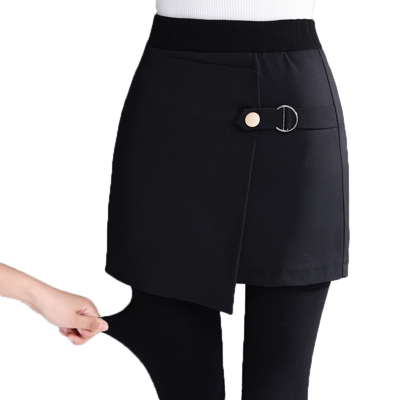 2019 Plus Velvet Thickening Skirt Fake Two Pieces Of Leggings Women Wear Stepping Skirt Pants Warm Bag Hip