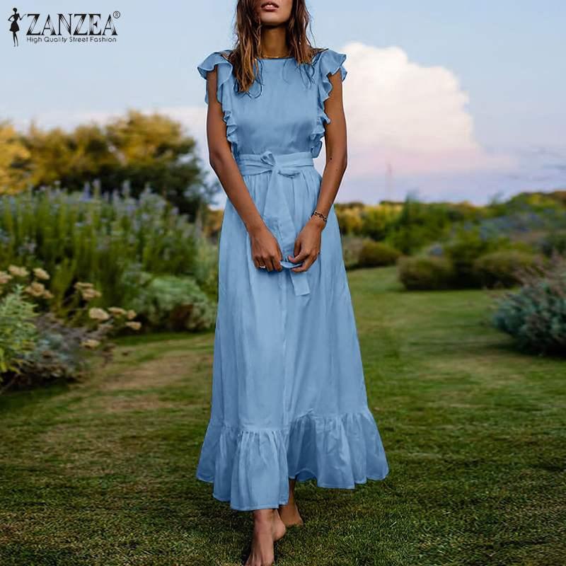 Zanzea behemian vestido feminino 2021 verão plissado sem mangas maxi tanque vestidos casuais sollid o-neck rendas até vestido de verão mais tamanho 7
