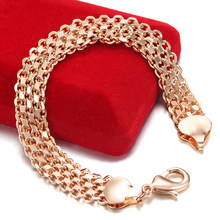 10MM 12MM Big Wide For Women Men Bracelet 585 Rose Gold Color Curb Catenary Chains(No red box)(China)