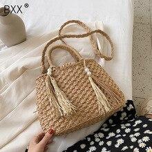 [BXX] Vintage Straw Bags For Women 2020 Summer Fashion Handbags and Purses Lady