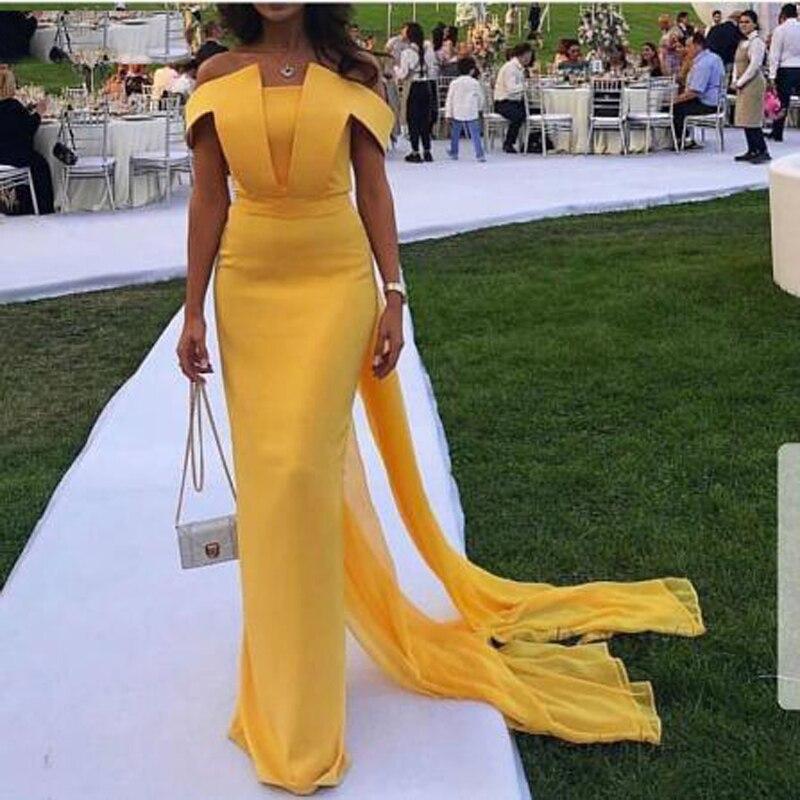 Mode jaune drapé dentelle hors épaule sirène robes de bal Simple bateau cou à manches courtes sur mesure robe de soirée