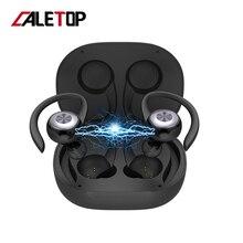 Caletop TWS Sport Running Draadloze Koptelefoon Oorhaak Bluetooth Noise Cancelling Hoofdtelefoon IPX4 Waterdichte Headset met MICROFOON