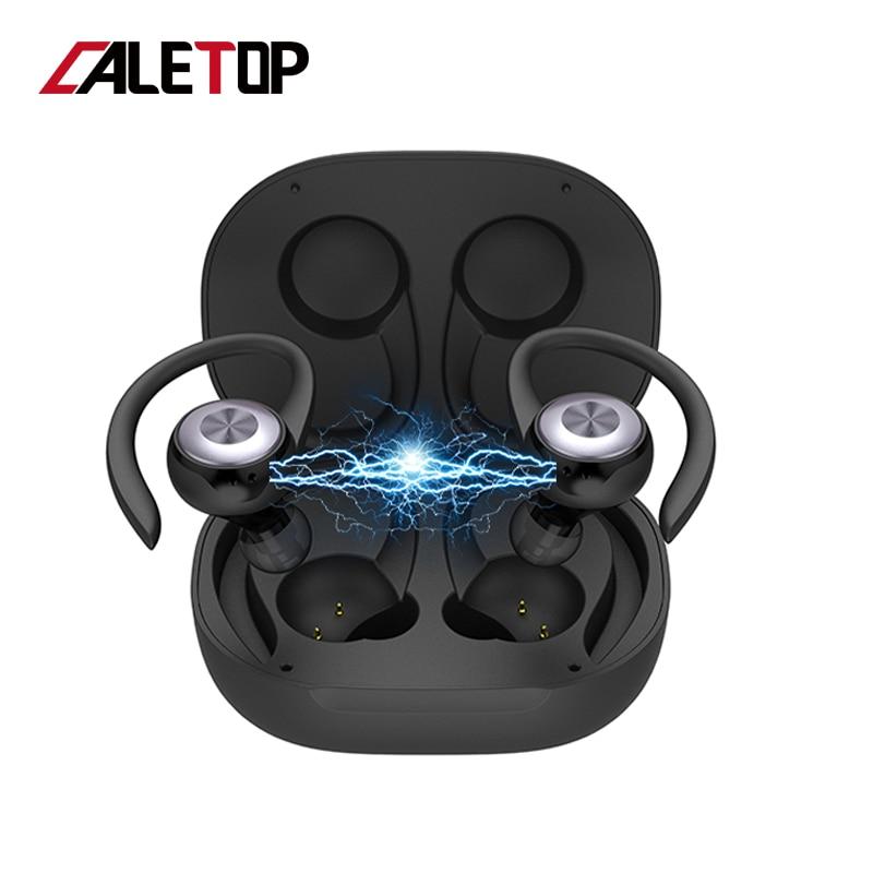 Caletop TWS Sports Running Wireless Earphones Ear Hook Bluetooth Noise Cancelling Headphones IPX4 Waterproof Headset with MIC