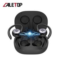 Caletop TWS spor koşu kablosuz kulaklık kulak kancası Bluetooth gürültü iptal kulaklıklar IPX4 su geçirmez mikrofonlu kulaklık