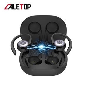 Image 1 - Caletop TWS sport en cours dexécution sans fil écouteurs oreille crochet Bluetooth bruit suppression casque IPX4 étanche casque avec micro