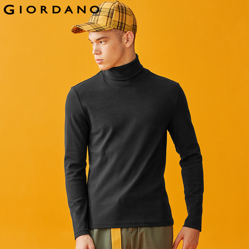 Giordano Men T Shirt Men Stretchy Fabric Turtleneck Thick T Shirt Mens Autumn Long-sleeve Solid Tees Homme 01029793