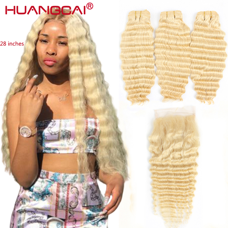 613 Honey Blonde Human Hair Weave 3 Bundles With Closure Brazilian Deep Wave Hair Extensions Golden Natural Remy Hair 4pcs/lot image