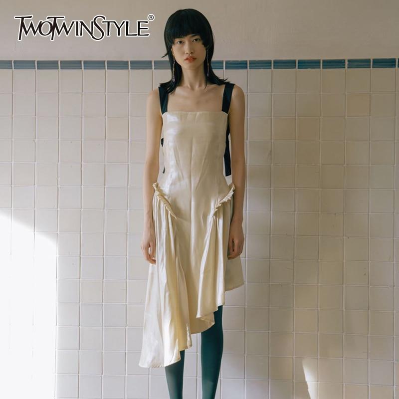 TWOTWINSTYLE Asymmetrical Dresses Female Square Collar Sleeveless High Waist Irregular Hem Patchwork Hit Color Dress Women Tide