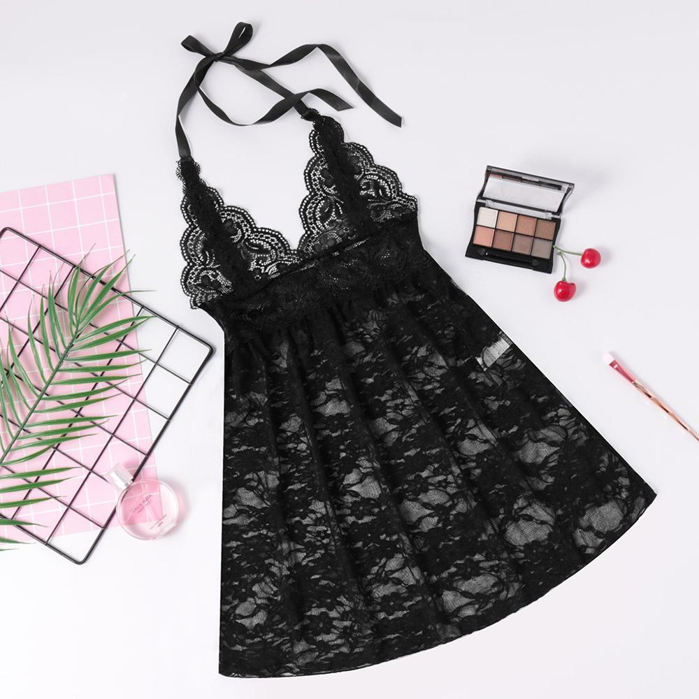 <font><b>Plus</b></font> <font><b>Size</b></font> <font><b>Sexy</b></font> Women Lace Nightdress Fashion Sleveless <font><b>Lingerie</b></font> Sleepwear Underwear <font><b>Camisolas</b></font> Sensuais 2019 New Hot Sale 1 image