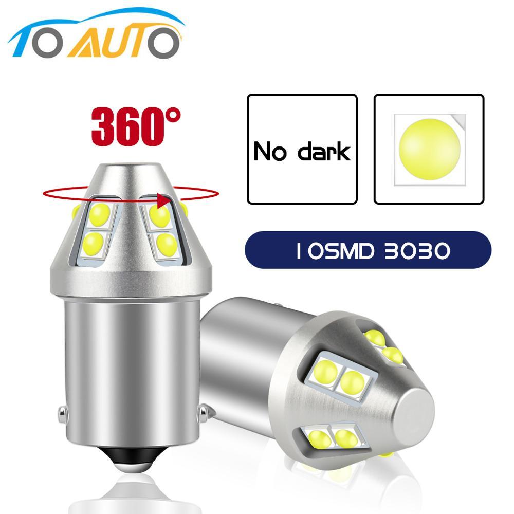 Суперъяркая Светодиодная лампа 1156 P21W BA15S 1157 P21/5W BAY15D LED 10SMD 3030, автомобильные фары, резервный сигнал, автомобильная лампа 12 В