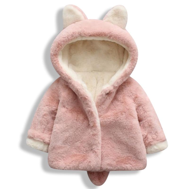 Новинка 2020, зимняя одежда для маленьких девочек, пальто с кроличьими ушками, плюшевое пальто, теплое зимнее пальто, куртка с капюшоном для де...