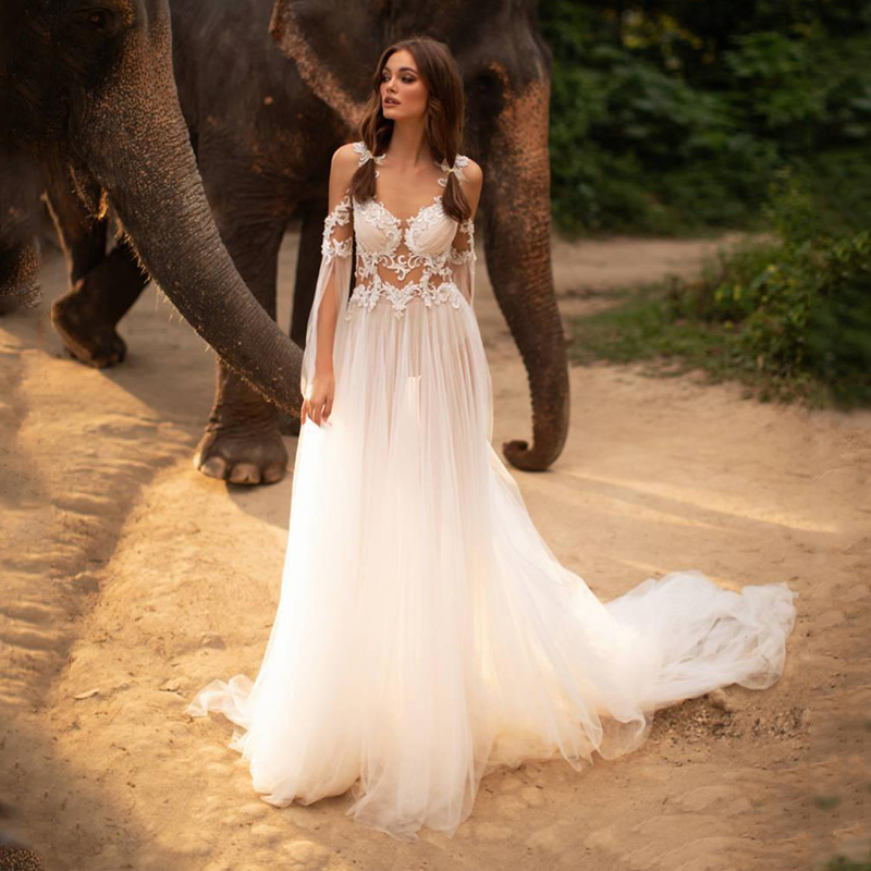 Smileven 2019 A Line Summer Wedding Dresses Appliques Lace Bride Dresses Sheer Illusion Bodice With Button Covered  Wedding Gown