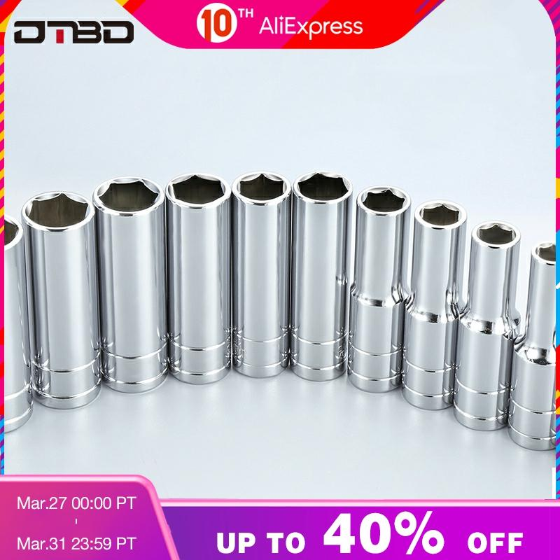 1/2 Inch Drive 8-32mm Hex Deep Socket Wrench Head 6 Point Long Sleeve For Ratchet Wrench Auto Repair Hand Tool Nut Removal