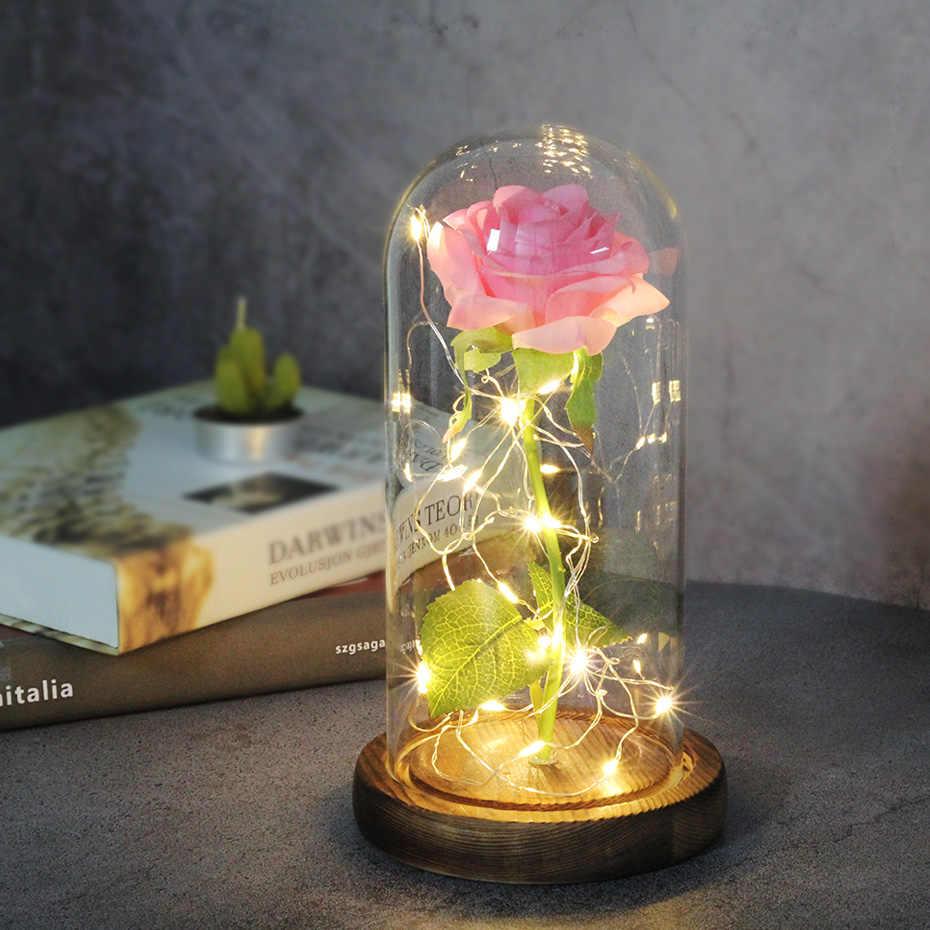 الجمال الساخن والوحش الأحمر ارتفع في الزجاج قبة قاعدة خشبية لتزيين هدايا عيد الحب عيد الميلاد LED مصابيح الورد زهرة